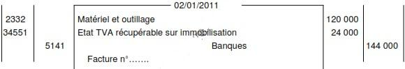 ecriture acquisition immobilisation journal