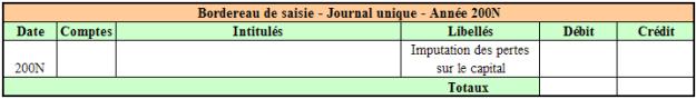 Bordereau de saisie – Journal Unique