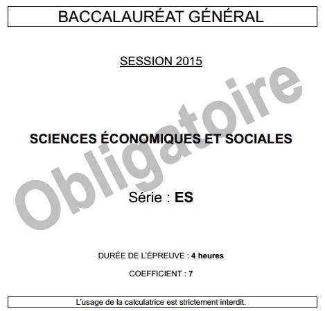 SCIENCES ÉCONOMIQUES ET SOCIALES epreuve