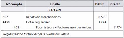 Régularisation facture achats Fournisseur